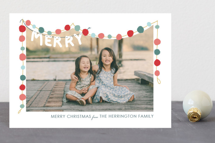 """""""Felted Garland"""" - Holiday Postcards in HollyJolly by Novel Paper."""