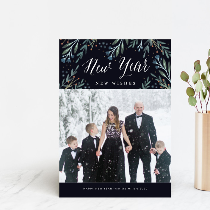 """Floral Wonder"" - Holiday Postcards in Navy by Kelly Nasuta."