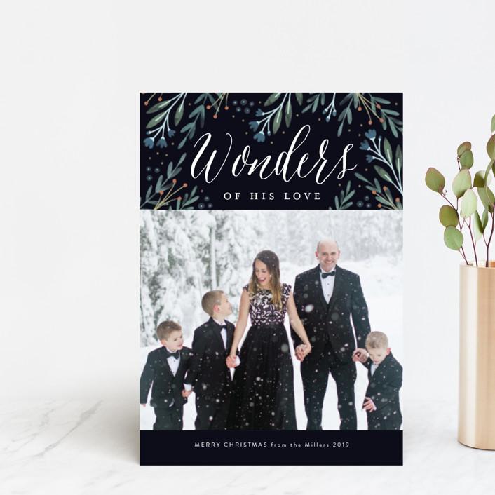 """Floral Wonder"" - Holiday Postcards in Navy by Kelly Nasuta."