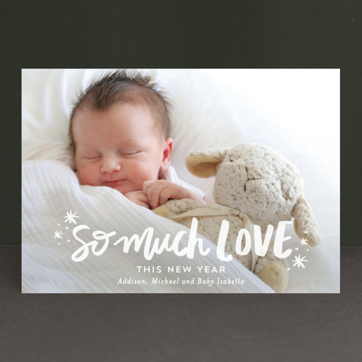 """""""So Much Love"""" - Holiday Postcards in Blush by Little Print Design."""
