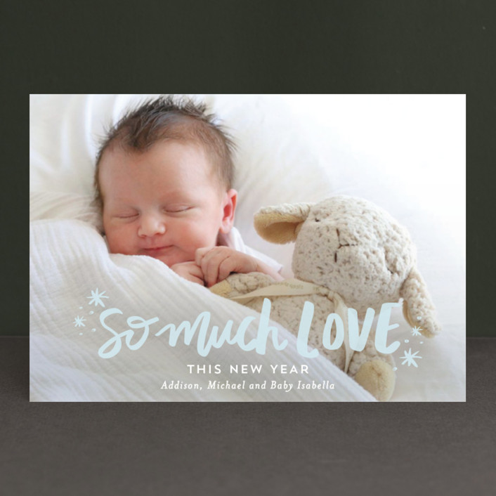 """So Much Love"" - Holiday Postcards in Pastel by Little Print Design."