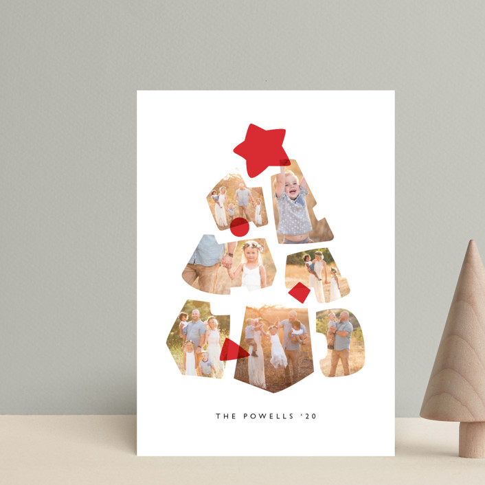 """Shapes Tree"" - Vintage Holiday Postcards in Cranberry by JeAnna Casper."