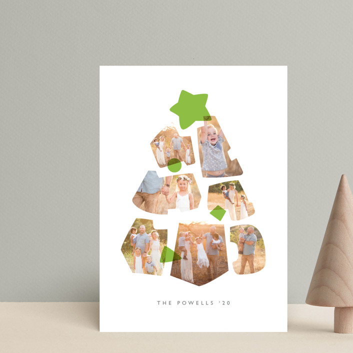"""Shapes Tree"" - Modern Holiday Postcards in Lime by JeAnna Casper."