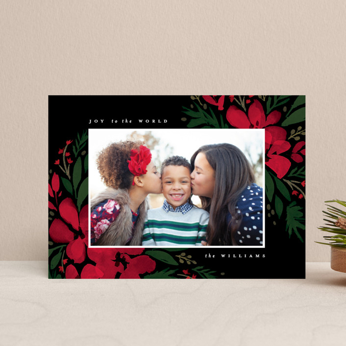 """Brushed Botanicals"" - Holiday Postcards in Onyx by Robert and Stella."