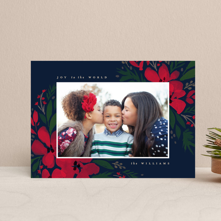 """""""Brushed Botanicals"""" - Holiday Postcards in Navy by Robert and Stella."""