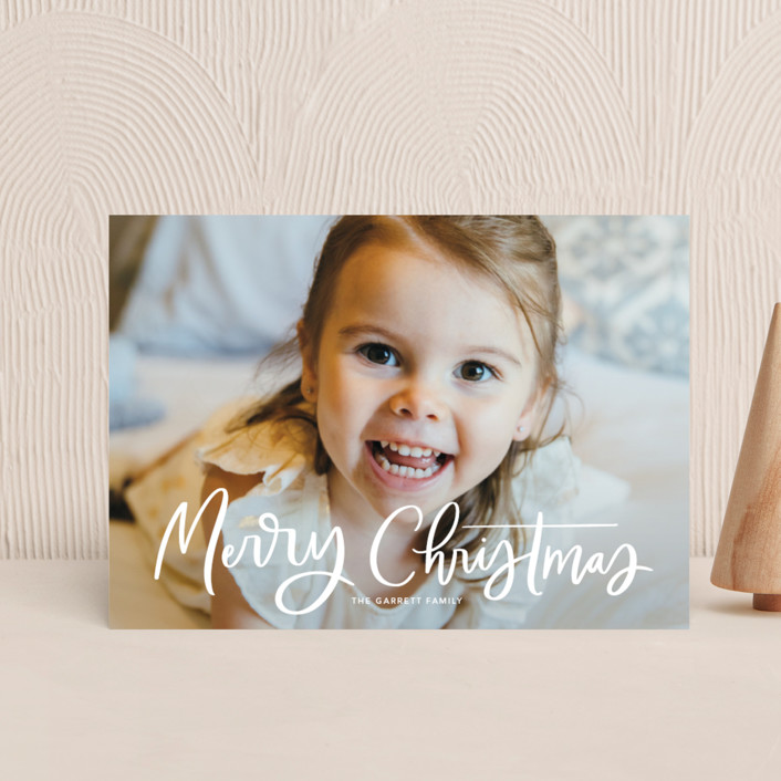 """""""Modern Merry Greeting"""" - Holiday Postcards in Winter by Kristen Smith."""
