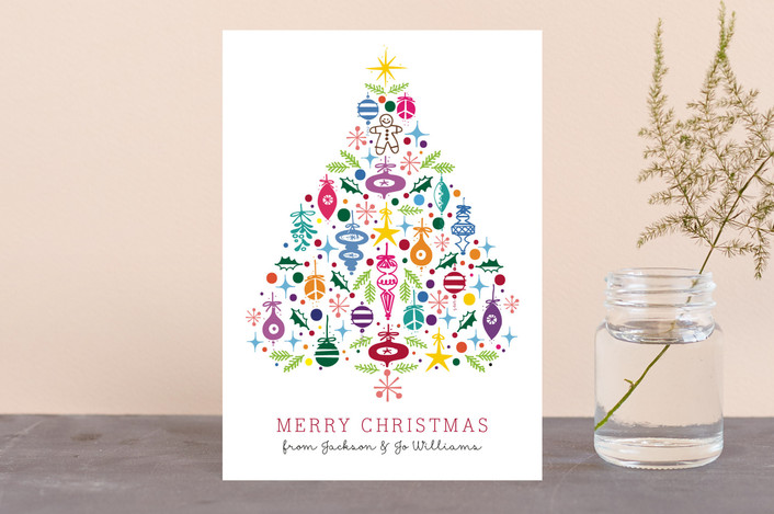 """""""Merry, Merry Christmas... Tree"""" - Holiday Postcards in Berry by Rae Kaiser."""