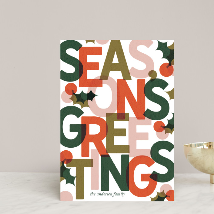 """""""Color Block Season's Greetings"""" - Holiday Postcards in Persimmon by Lissabeth Anglin."""