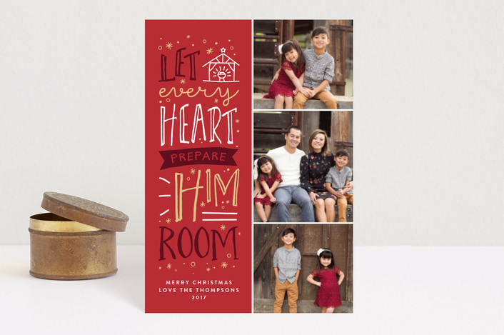 """""""Prepare Him Room"""" - Holiday Postcards in Holly Berry by Amy Payne."""