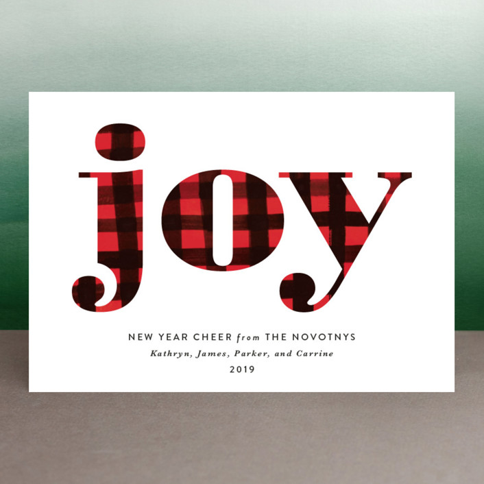 """""""Buffalo Plaid Joy"""" - Holiday Postcards in Snow by Erika Firm."""