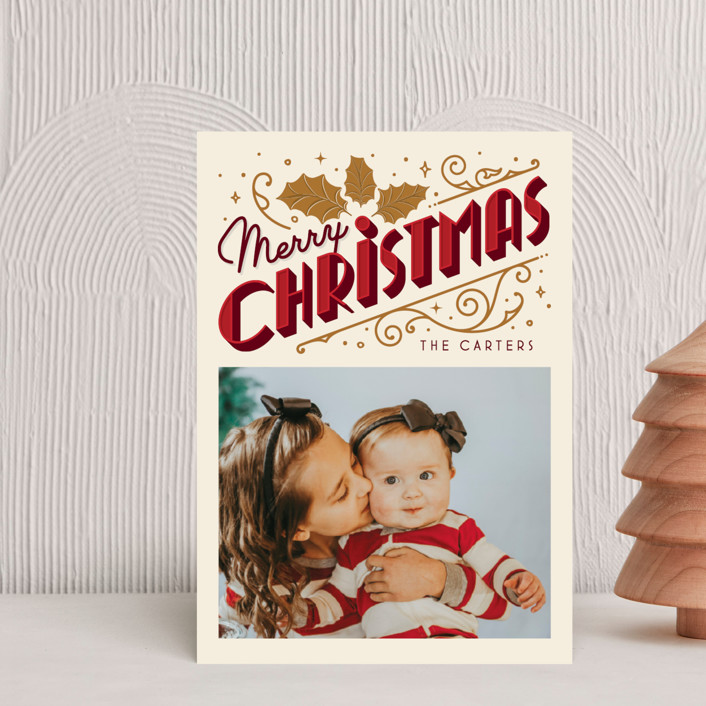 """""""Christmas Past"""" - Vintage Holiday Postcards in Cream by GeekInk Design."""