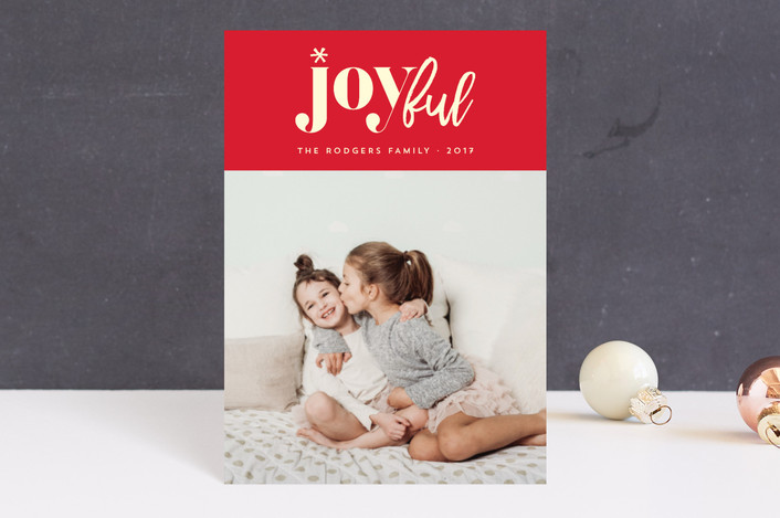 """""""joyfully yours"""" - Modern Holiday Postcards in Berry by Rebecca Bowen."""