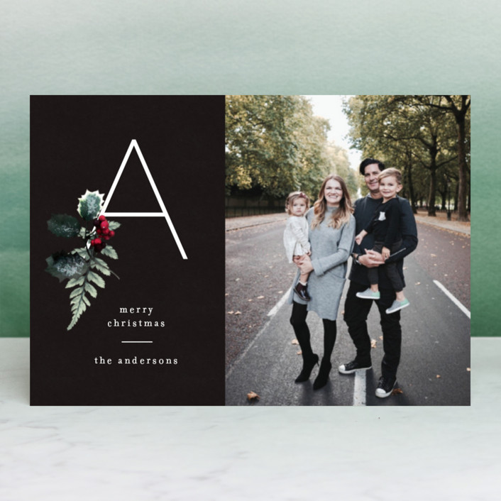 """""""Floral Monogram"""" - Holiday Postcards in Ash by Baumbirdy."""