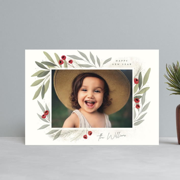 """""""Merry Botanical"""" - Holiday Postcards in Pearl by Cindy Reynolds."""