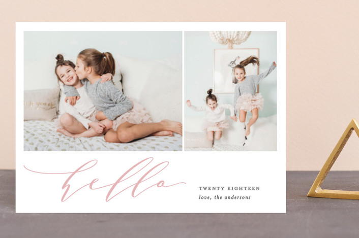 """""""Script Hello"""" - Holiday Postcards in Blush by Ana Sharpe."""