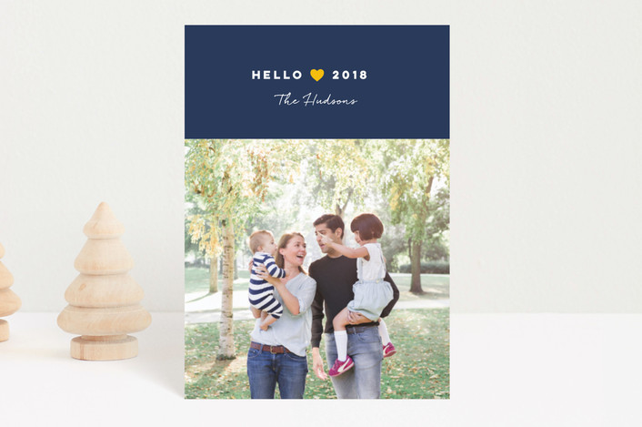 """From Our Heart"" - Holiday Postcards in Navy by Jana Volfova."