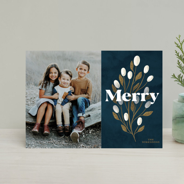 """""""Branch And Berries"""" - Holiday Postcards in Navy by GeekInk Design."""