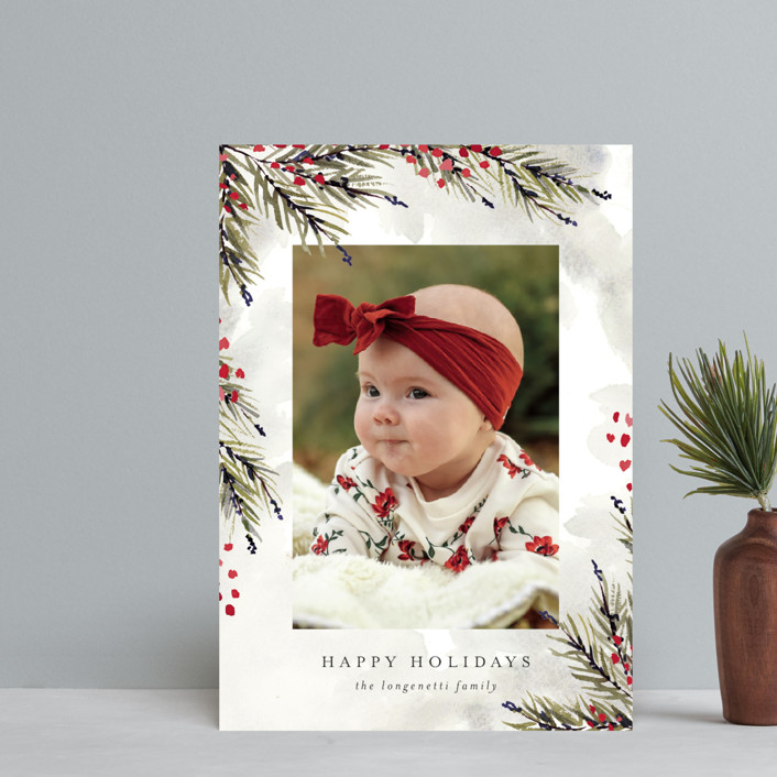 """""""Pine and Berry Study"""" - Holiday Postcards in Berry by Chris Griffith."""