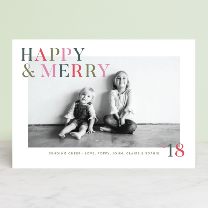 """Happy Cheer"" - Holiday Postcards in Evergreen by Toast & Laurel."