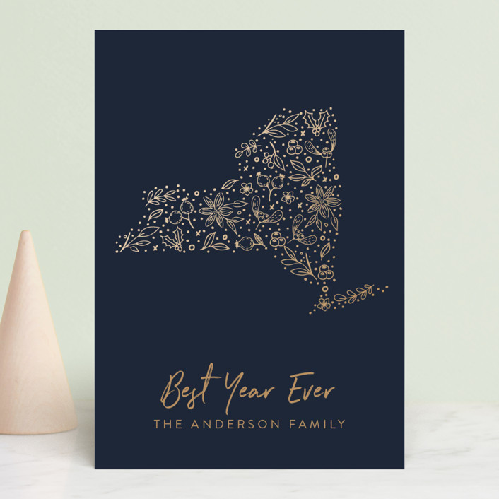 """""""New York Gold"""" - Holiday Postcards in Midnight by My Splendid Summer."""