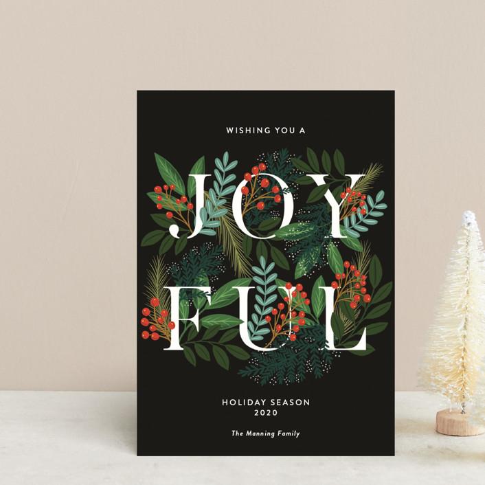 """A Joyful Holiday Season"" - Holiday Postcards in Midnight by Yaling Hou Suzuki."