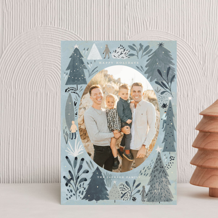 """""""Wonderland Forest"""" - Bohemian Holiday Postcards in Seafoam by Morgan Ramberg."""