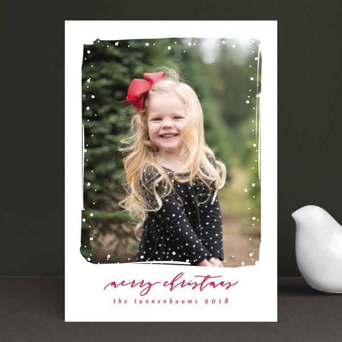 """Simple Snow"" - Holiday Postcards in Cardinal by Lehan Veenker."