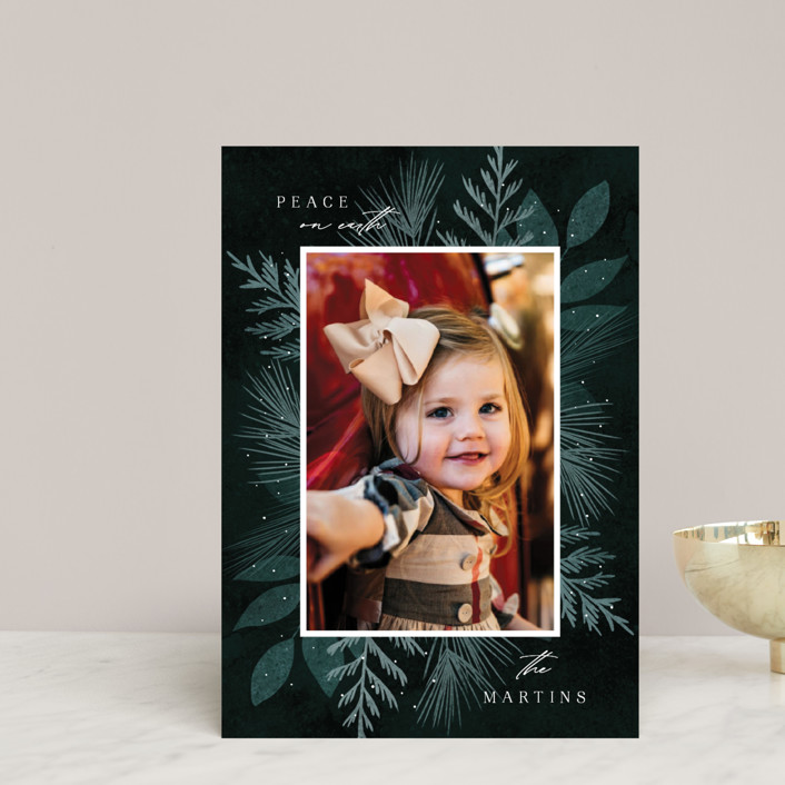 """Botanical Frame 2"" - Holiday Postcards in Forest by Kelly Schmidt."