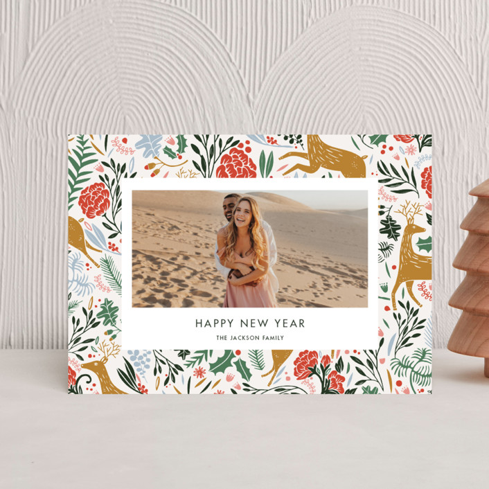 """""""Holiday Forest Photo"""" - Bohemian Holiday Postcards in Jour by Made by Mosa."""