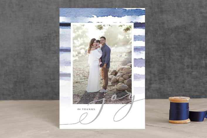 """Shibori Holiday Stripes"" - Holiday Postcards in Indigo Dreams by Design Lotus."