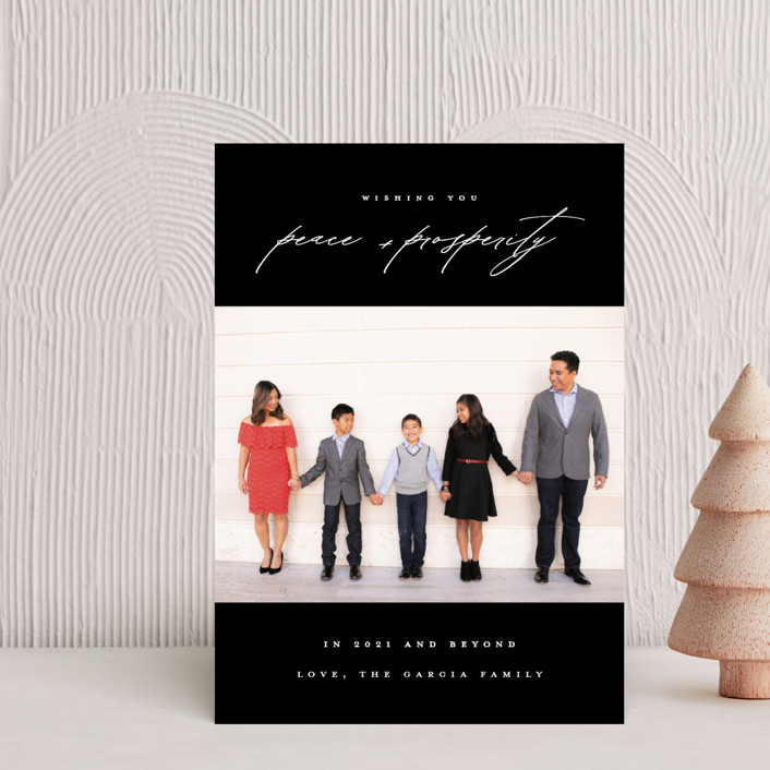 """""""Peace And Prosperity"""" - Holiday Postcards in Onyx by Up Up Creative."""