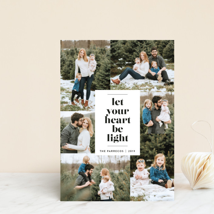"""""""Be Light"""" - Holiday Postcards in Midnight by Design Lotus."""