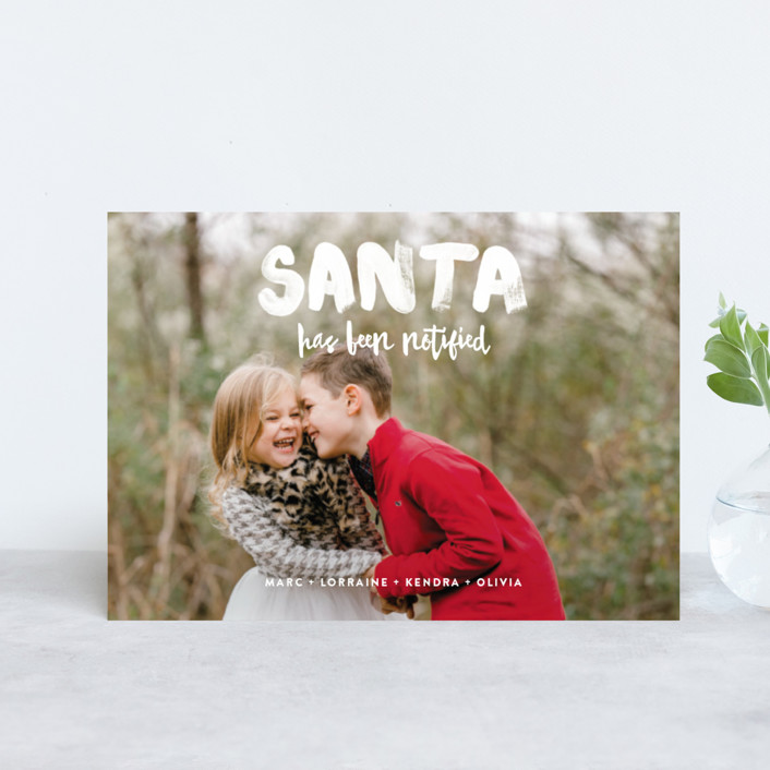 """""""Santa Has Been Notified"""" - Funny Holiday Postcards in Snow by Alex Elko Design."""