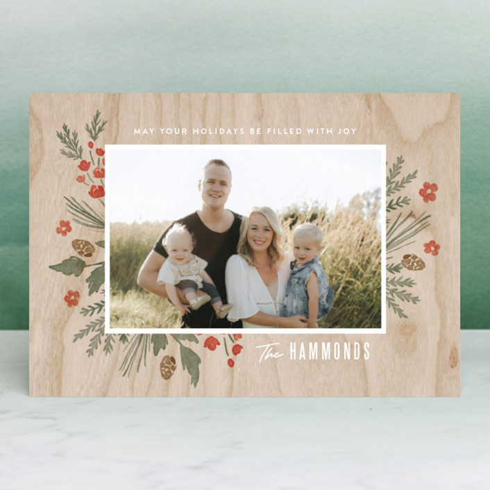 """Wooden Frame"" - Holiday Postcards in Festive Red by Oscar & Emma."