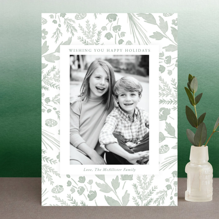 """Among the Foliage"" - Holiday Postcards in Sage by Oscar & Emma."