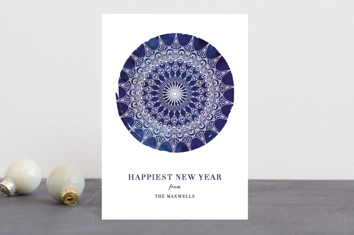 """Bohemian Snowflake"" - Holiday Postcards in Cobalt by Kaydi Bishop."
