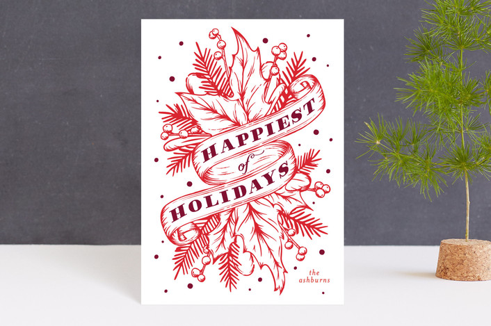 """Boughs of Holly"" - Vintage Holiday Postcards in Holly by GeekInk Design."