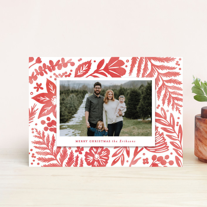 """Festive Watercolor Florals"" - Holiday Postcards in Red Berry by Hooray Creative."