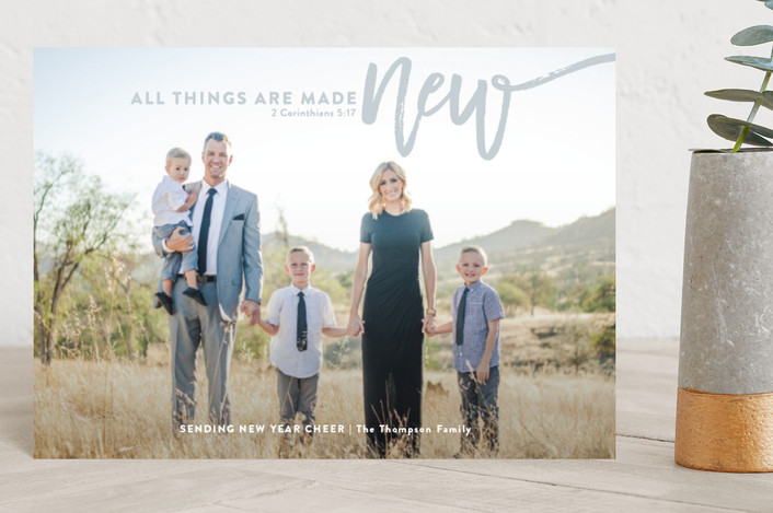 """""""all things are made new"""" - Holiday Postcards in Slate by Guess What Design Studio."""