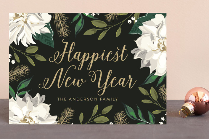 """""""Christmas Floral Surround"""" - Holiday Postcards in Midnight by Susan Moyal."""