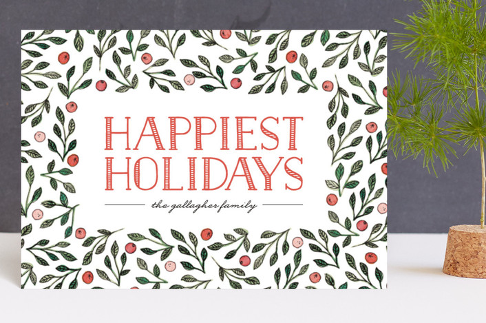 """Berries + Branches"" - Holiday Postcards in Berry by Three Kisses Studio."