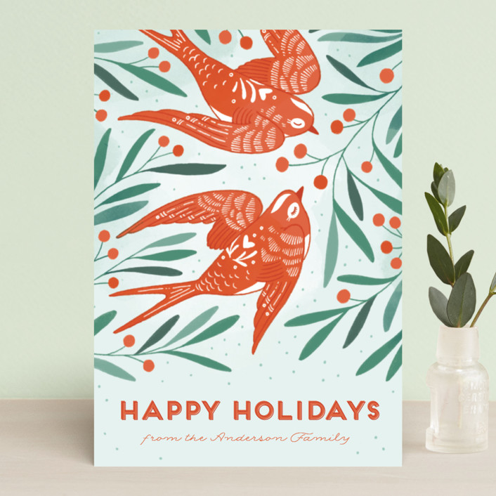 """""""Birds of Cheer"""" - Holiday Postcards in Evergreen by Paper Raven Co.."""