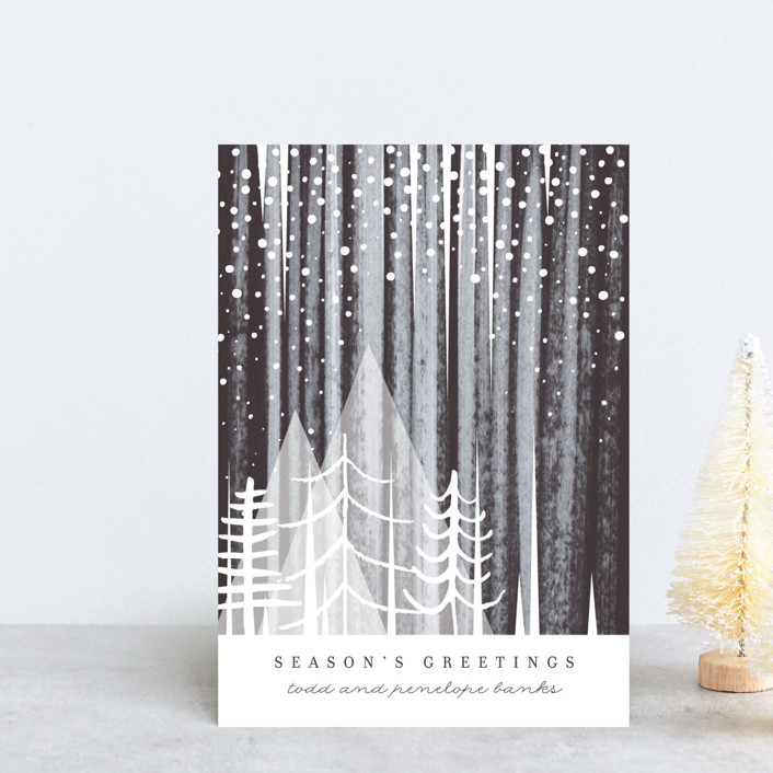 """""""Snowfall"""" - Bohemian Holiday Postcards in Night by Baumbirdy."""