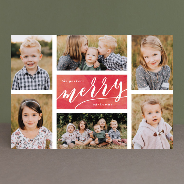 """The Merry Six"" - Holiday Postcards in Ruby by Hooray Creative."