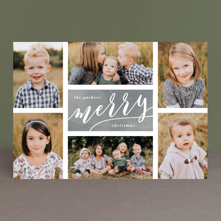 """""""The Merry Six"""" - Holiday Postcards in Slate by Hooray Creative."""