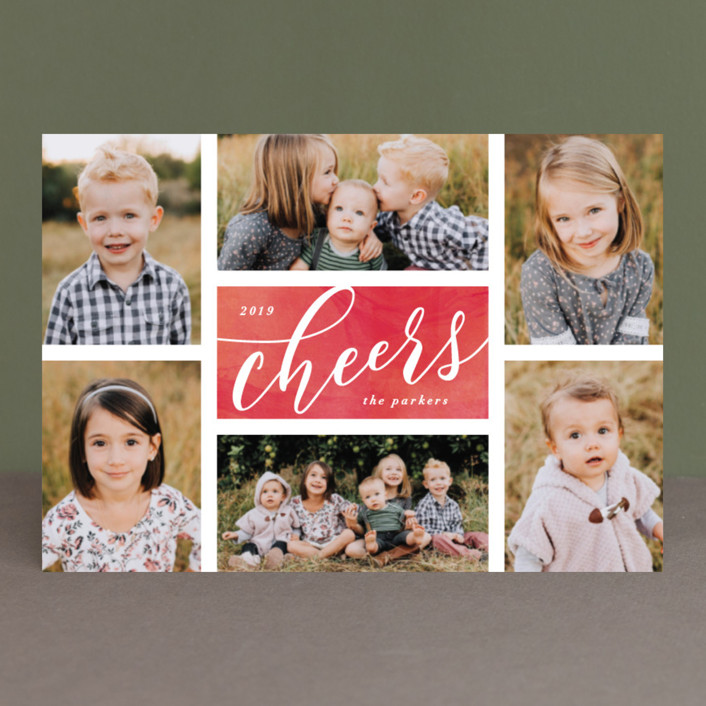 """""""The Merry Six"""" - Holiday Postcards in Ruby by Hooray Creative."""