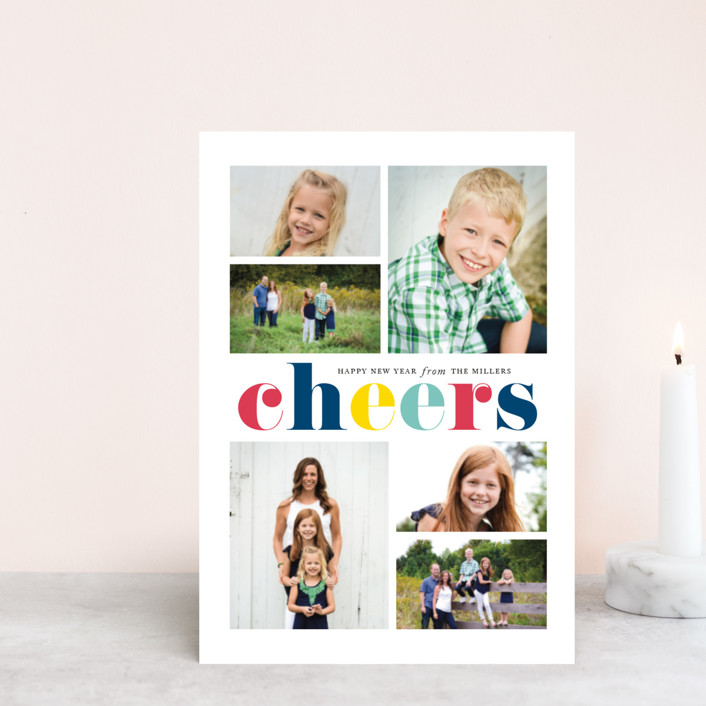 """Colorful Cheers"" - Modern Holiday Postcards in Royal by Jennifer Postorino."