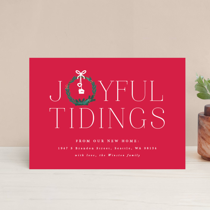 """""""Joyful New Home"""" - Holiday Postcards in Berry by Bonjour Berry."""