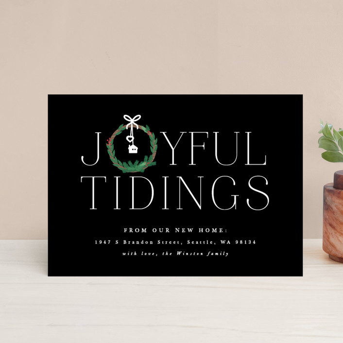 """""""Joyful New Home"""" - Holiday Postcards in Frosted by Bonjour Berry."""