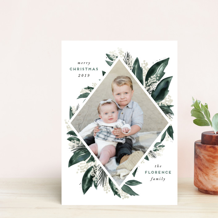 """Seasonal Greenery"" - Holiday Postcards in Evergreen by Leah Bisch."